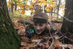 Lasergame in het bos verstoppen